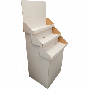 White - 3 Tiered Stand - Overlapping Shelves